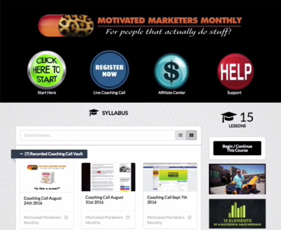 Motivated Marketers Monthly Members Area