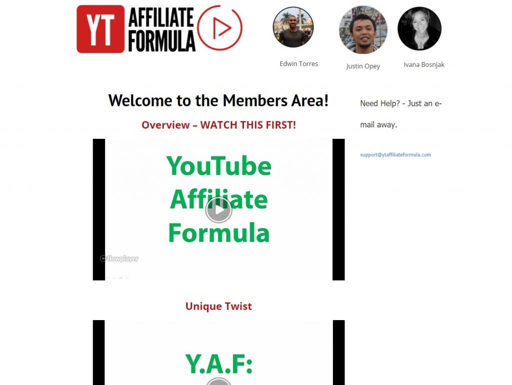 YT Affiliate Formula Review Members Area