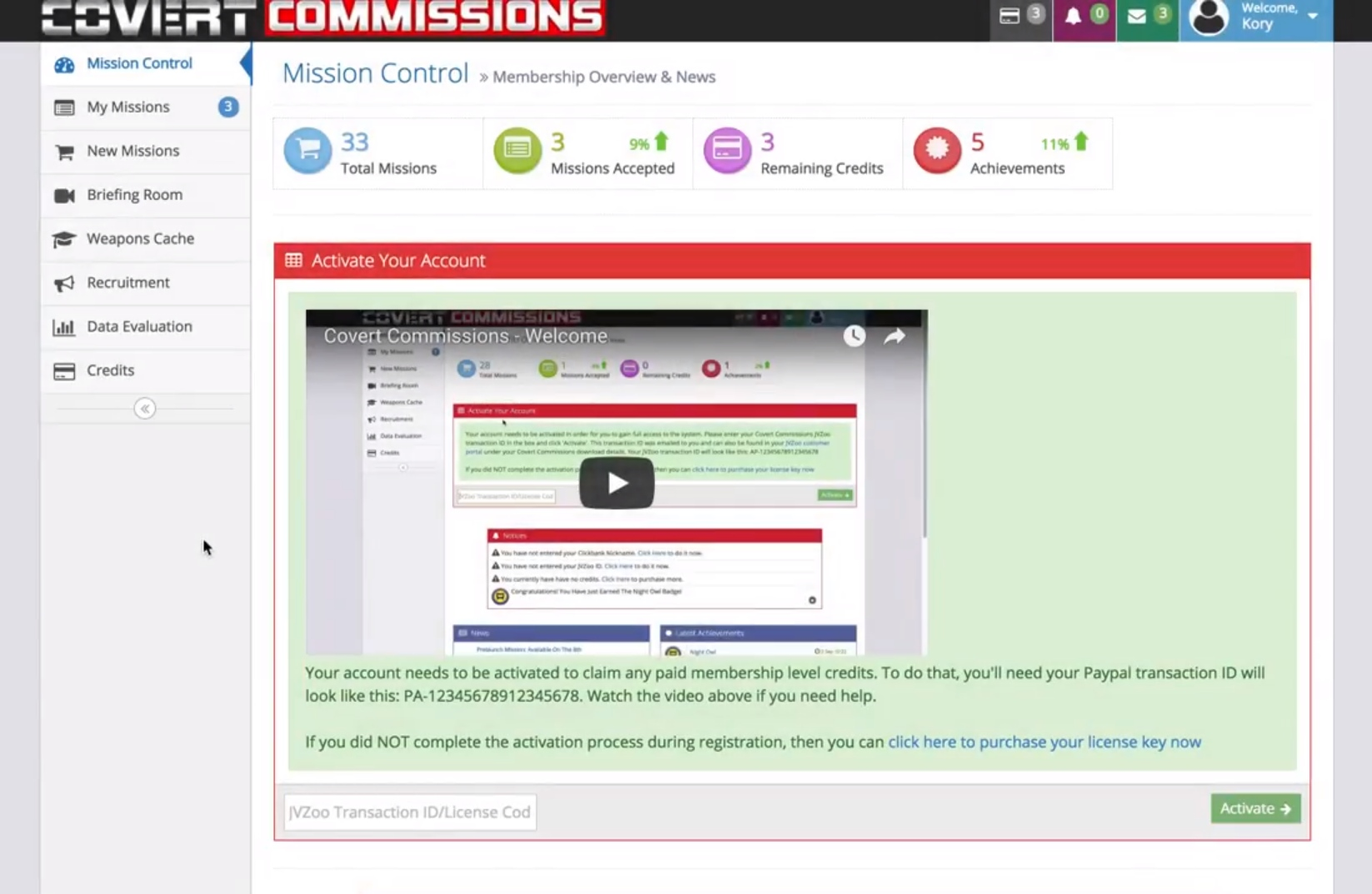 Covert Commissions Review Members Area