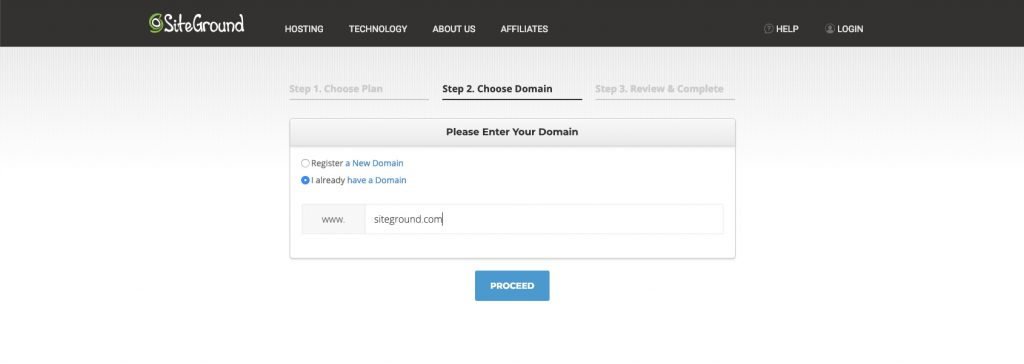 SiteGround Choose A Domain