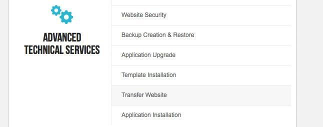 SiteGround Transfer Website Option