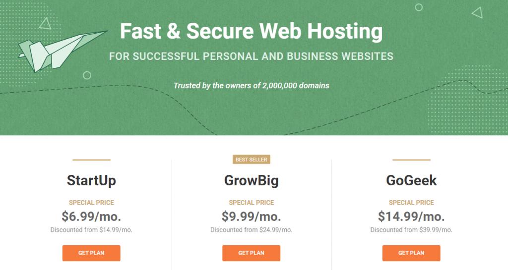 SiteGround Standard Shared Hosting Plans
