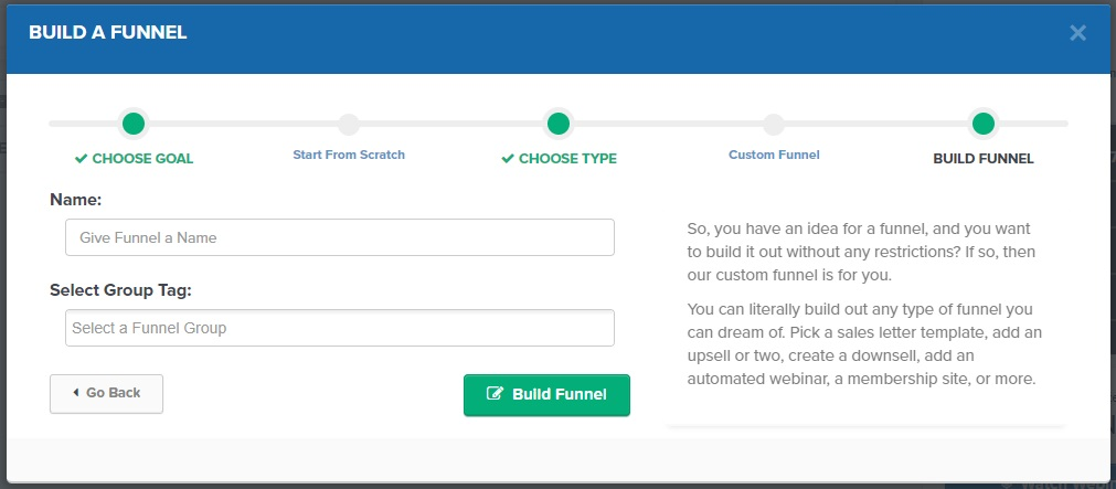 ClickFunnels Build A Funnel Screen