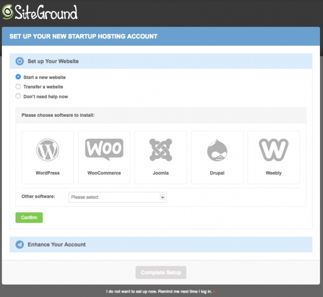 SiteGround Website Setup Wizard