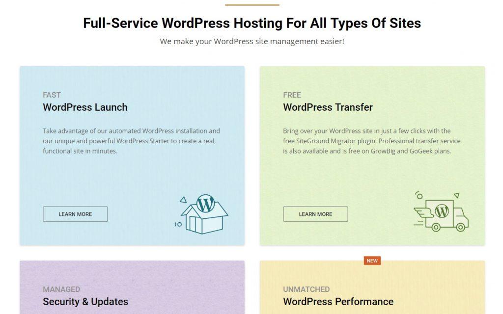 SiteGround WordPress Hosting Features