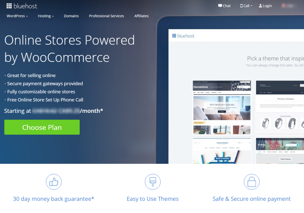 Bluehost eCommerce Hosting Info