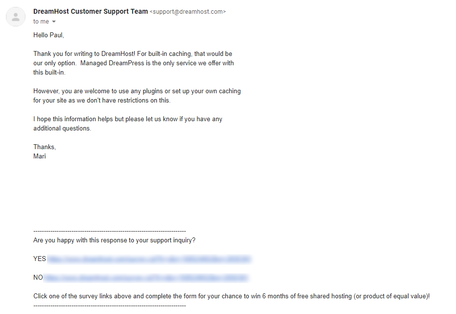 DreamHost Support Ticket Sample Email