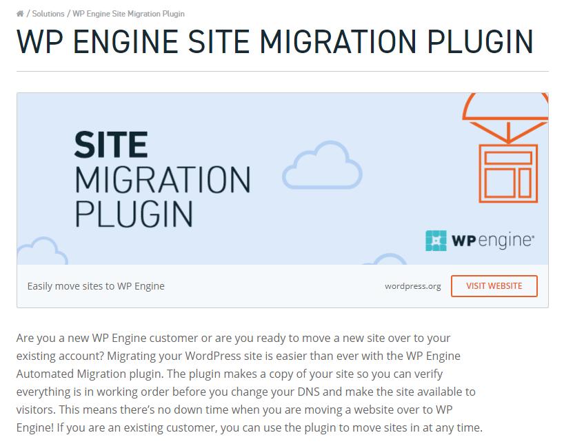WP Engine Site Migration Plugin Info