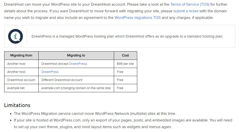 DreamHost Site Transfer Info