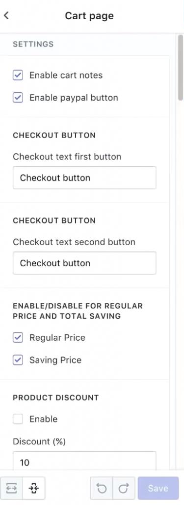eCom Turbo - Cart Page Options