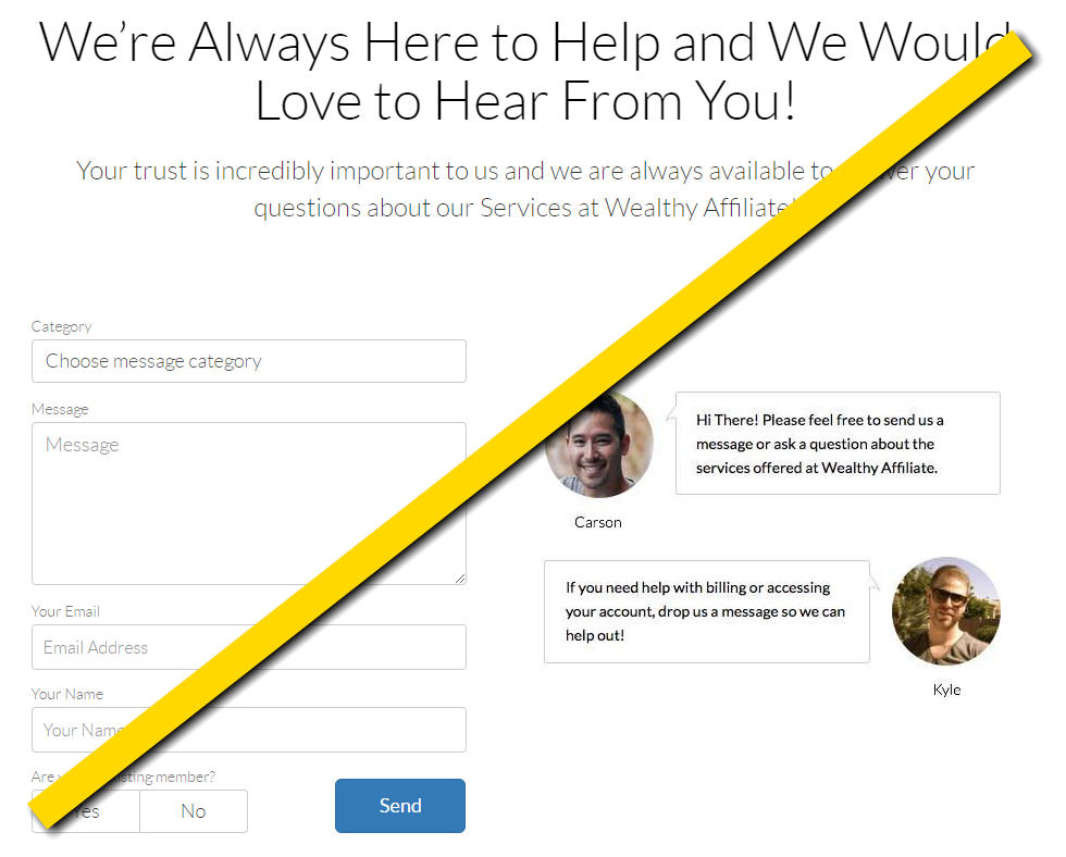 Wealthy Affiliate Contact Form