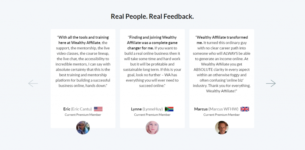 Wealthy Affiliate Feedback Examples