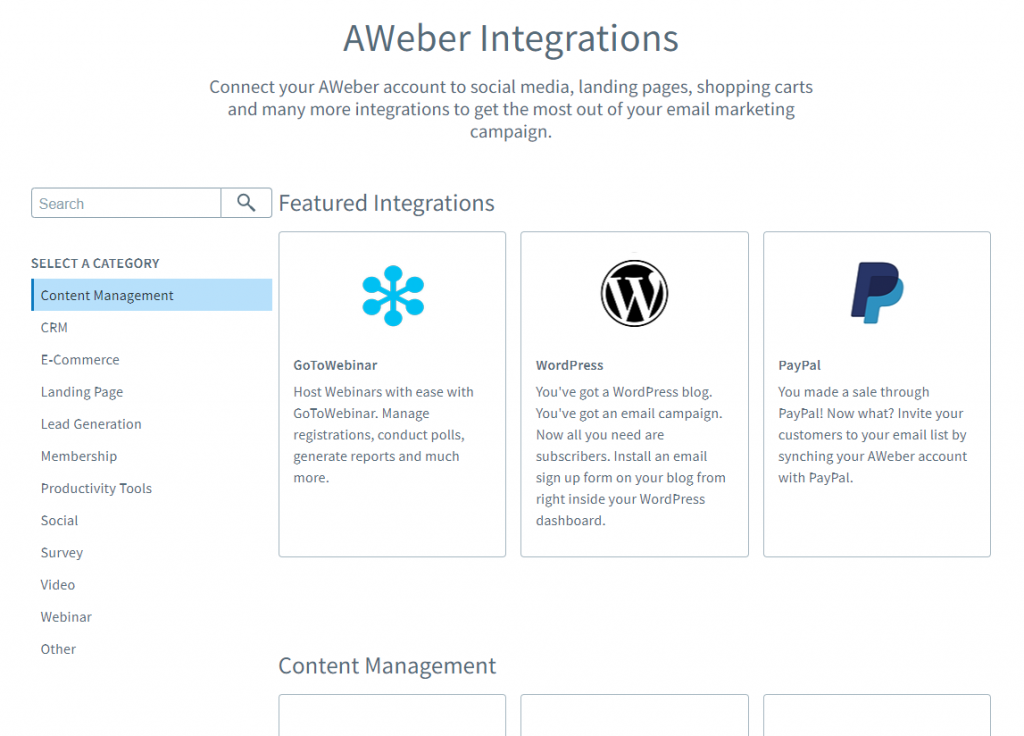 AWeber Integrations Sample