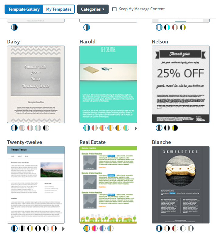 AWeber Email Template Selection