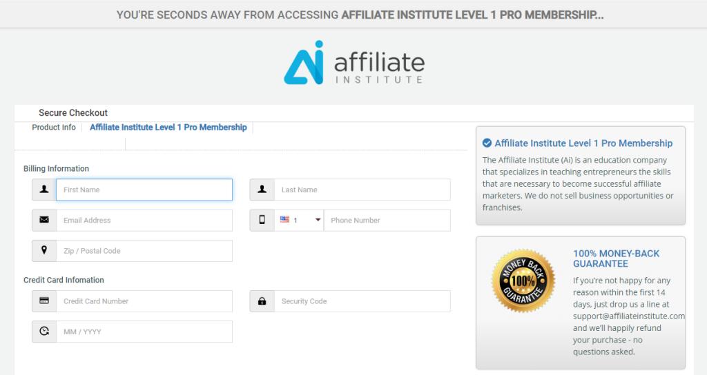 Affiliate Institute - Level 1 Membership Signup