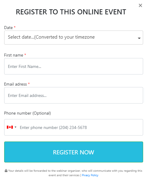 Affiliate Institute Web Class Signup Form