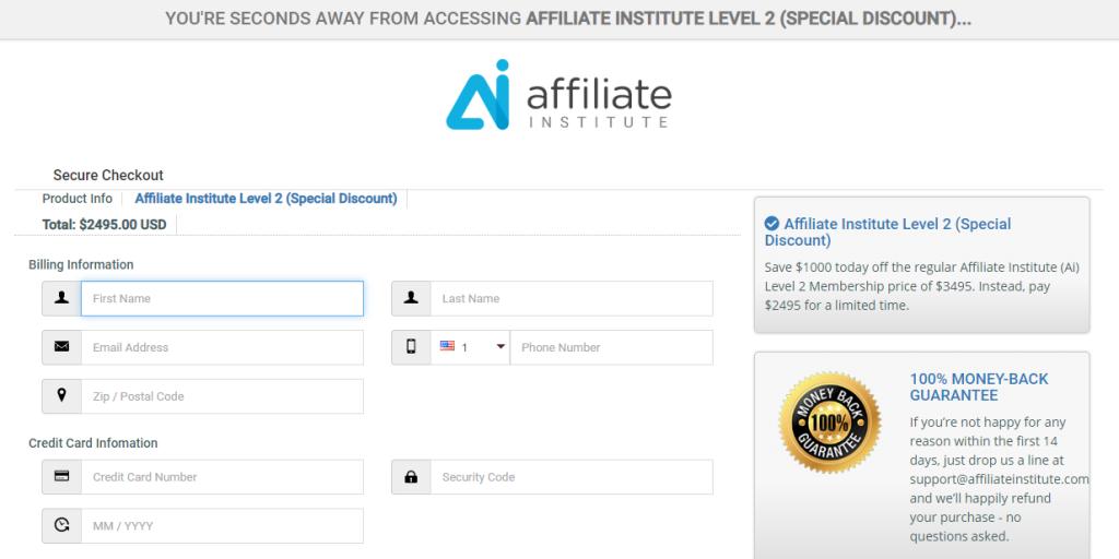 Affiliate Institute - Level 2 Signup