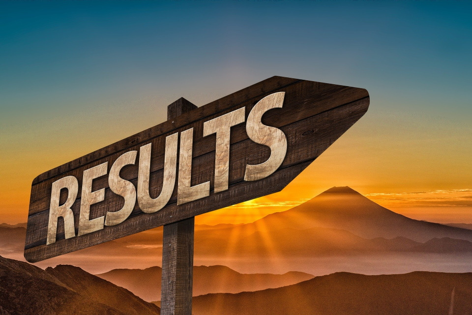 "Wooden sign with the word ""results"" written on it"
