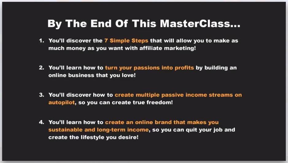 Affiliate Marketing Mastery MasterClass slide example