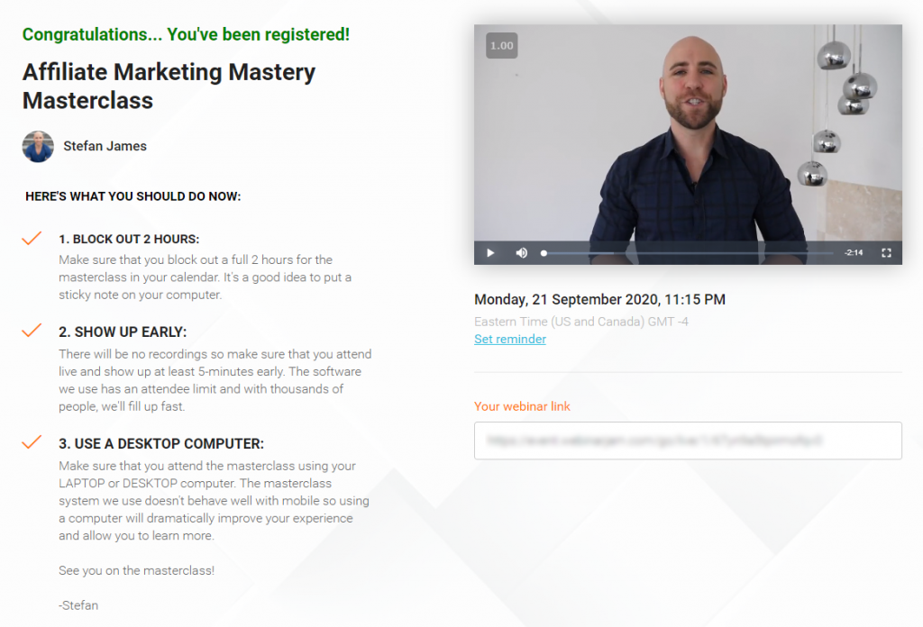 Affiliate Marketing Mastery MasterClass Confirmation Page