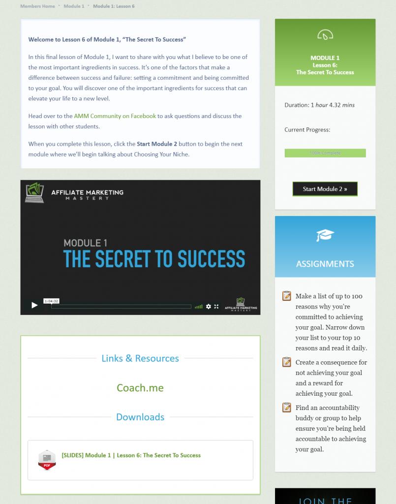 Affiliate Marketing Mastery lesson sample